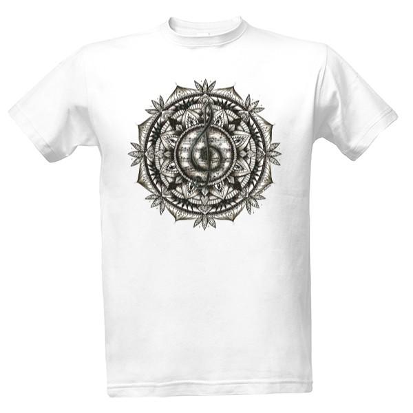 Tričko s potiskem Mandala hudby - pánské  648ab636d0